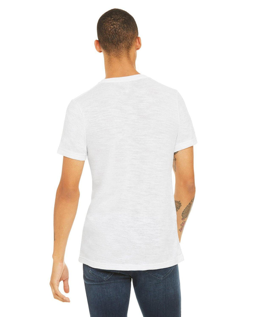 Unisex Short Sleeve V Neck Tee Shirt- White Slub - Bella + Canvas