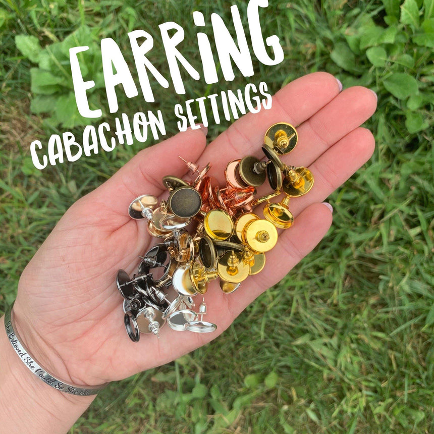 Earring Cabachon Settings - LizKSupplyCo