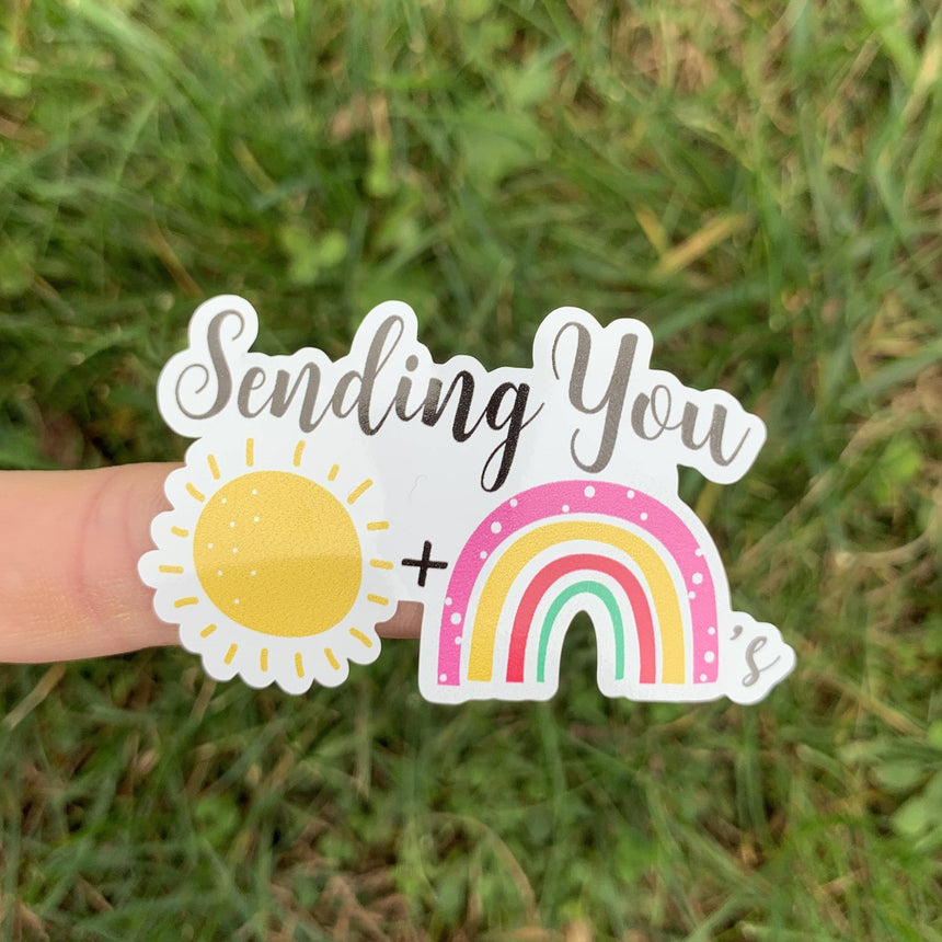 Sending Sunshine & Rainbows Sticker - LizKSupplyCo