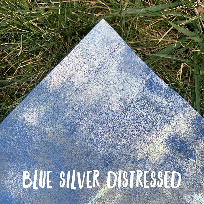 Distressed- Blue & Silver Leather - LizKSupplyCo