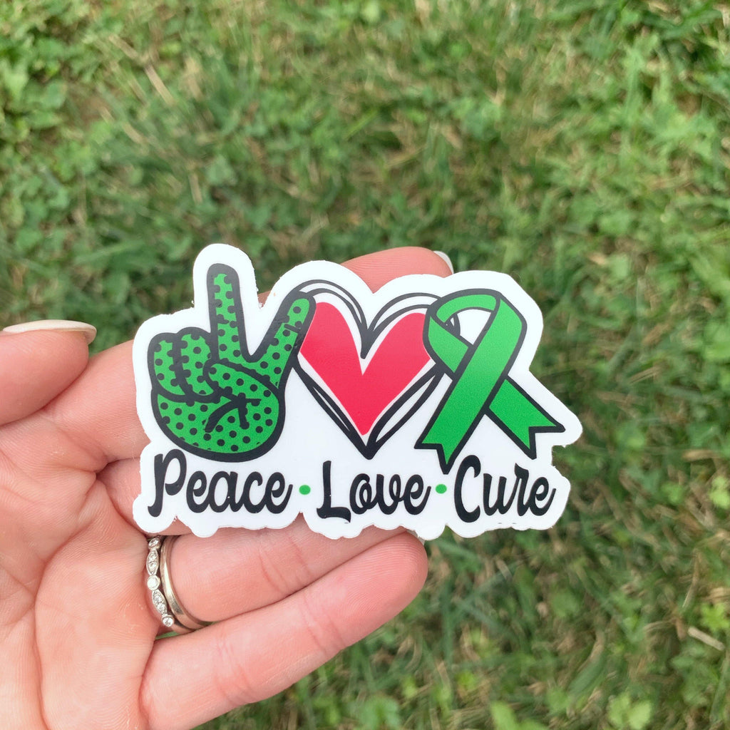 Green Peace Love Cure Sticker