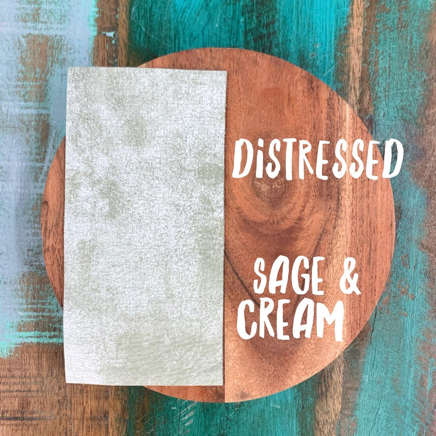 Distressed- Sage & Cream Leather - LizKSupplyCo