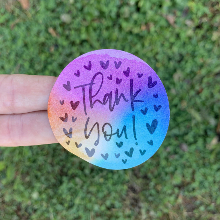 Thank You Watercolor Circle Sticker - LizKSupplyCo