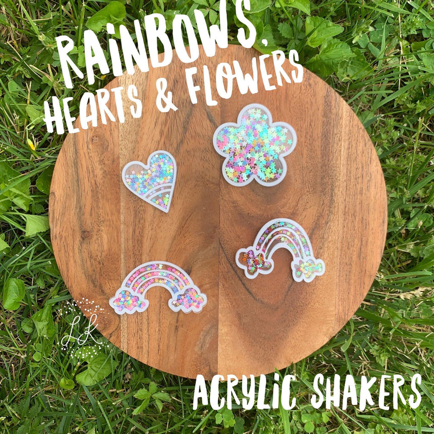 Rainbows, Hearts, & Flowers Acrylic Shakers - LizKSupplyCo