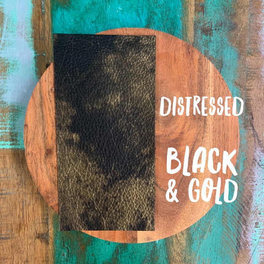 Distressed- Black & Gold Leather - LizKSupplyCo