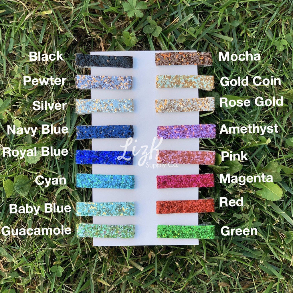 Chunky Glitter Bar Clips - Solid Glitter Colors