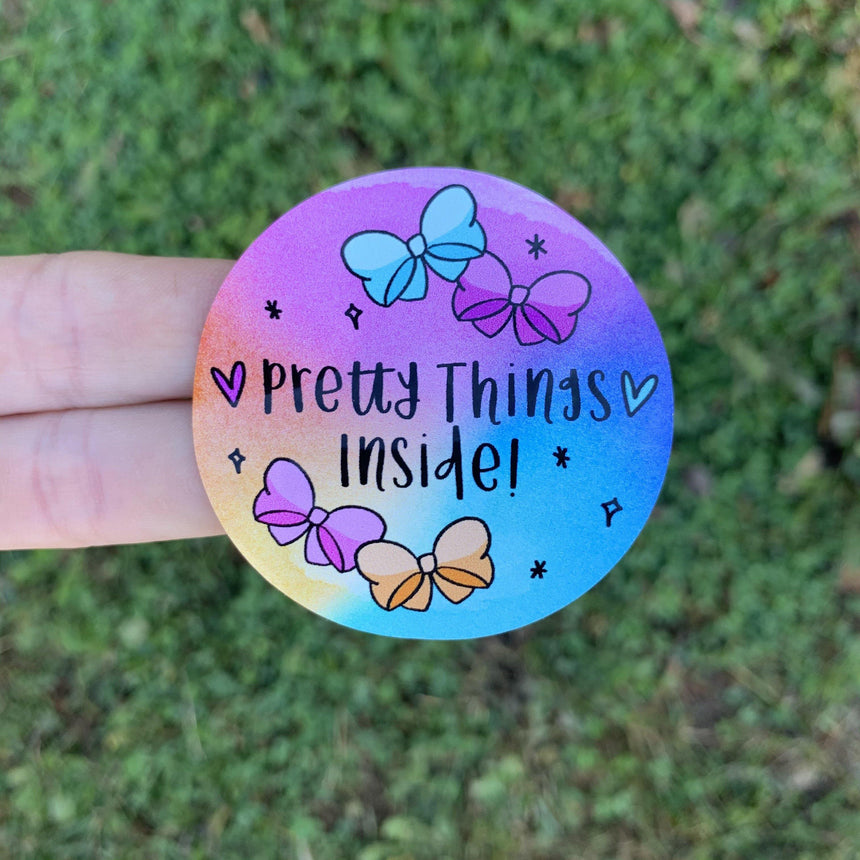 Pretty Things Inside Watercolor Circle Sticker - LizKSupplyCo