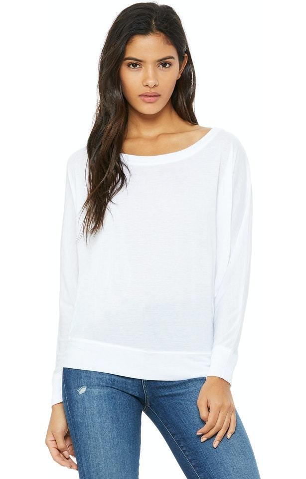 Ladies Flowy Long Sleeve Off Shoulder Tee Shirt- Bella + Canvas