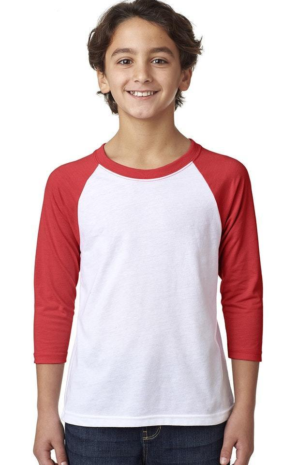 Kids 3/4 Length Sleeve Baseball Raglan Tee Shirt - Next Level