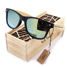 THE VINTAGE - Summer Style Black Vintage Mirrored Polarized Square Bamboo Sunglasses