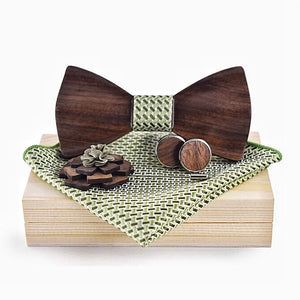 Handmade Wooden Bow Tie Complete Set by AXEL XAVERIO