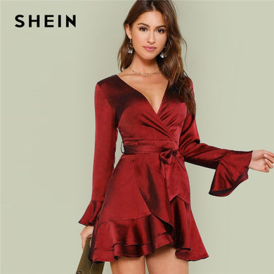 52e160ac38 SHEIN Burgundy Party Solid Split Back Ruffle Trim Overlap Front Cut Out  Belted Dress Autumn Long
