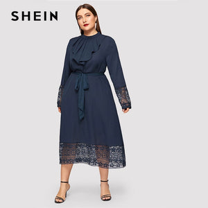 23514980b4c SHEIN Navy Women Plus Size Elegant Contrast Lace Belted Ruffle Trim Maxi Dress  Women Stand Collar Long Sleeve Dresses