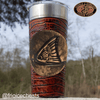 Frio 24-7 Cup w/ Bottle Opener and Leather Wrap- Cognac/ Redfish Badge