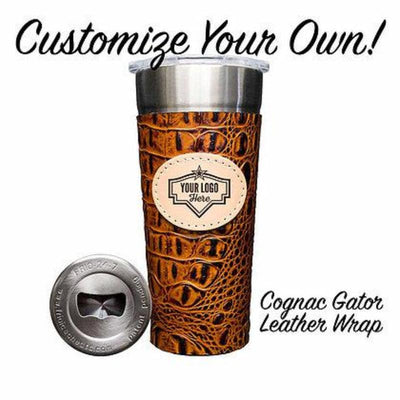 Custom Laser Engraved 24-7 Cup w/ Leather Wrap (Click for more options) - Frio Ice Chests
