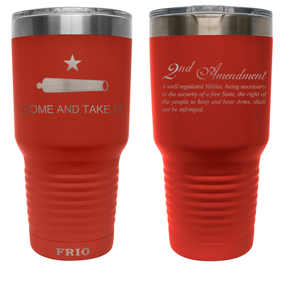 Frio Label Series 30oz- Black Come & Take It w/ 2nd Amendment Theme