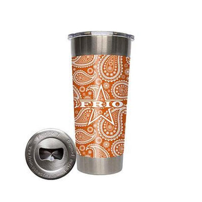 Frio 24-7 Cup w/ Bottle Opener and 3M Vinyl Wrap- Texas Orange Paisley - Frio Ice Chests