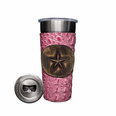Frio 24-7 Cup w/ Bottle Opener and Leather Wrap- Rosa Gator/Star Badge - Frio Ice Chests