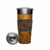 Frio 24-7 Cup w/ Bottle Opener and Leather Wrap - Rustic Ostrich/TX Flag - Frio Ice Chests