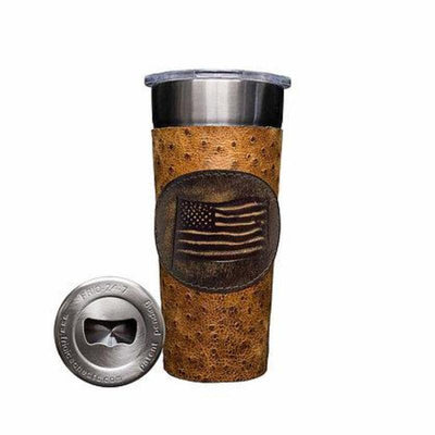 Frio 24-7 Cup w/ Bottle Opener and Leather Wrap - Rustic Ostrich/USA - Frio Ice Chests
