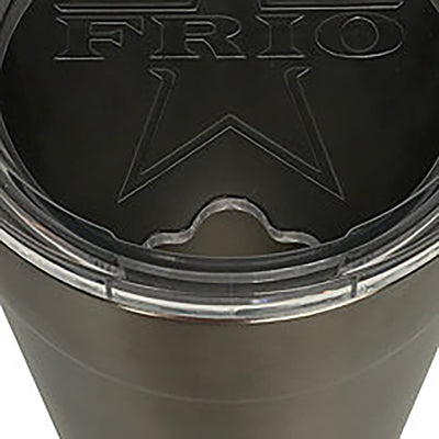 Frio 24-7 Cup w/ Bottle Opener and Leather Wrap- Rosa Gator/Armadillo Badge - Frio Ice Chests