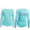 Solar Performance Long Sleeve Ladies Tee - Water Blue/ Lone Star Theme