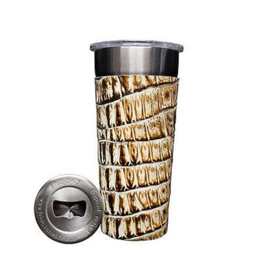 Frio 24-7 Cup w/ Bottle Opener w/ Leather Wrap- Desert Storm Gator - Frio Ice Chests