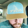 Pacific Headwear Frio Red Adjustable Cap - Smoke Blue/Amber Gold/ Beige Mesh