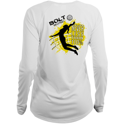 Bolt Volleyball Long Sleeve Tee- White