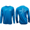 Racermesh Long Sleeve Tee in Pond Blue with Marlin logo