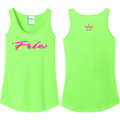 Ladies Core Cotton Tank Top in Neon Green with Frio Script