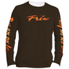 Frio Performance L/S Fishing Shirt w/ Bull Red Script