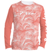 Frio Ladies Long Sleeve Solar Shirt w/ Coral Palm Leaves