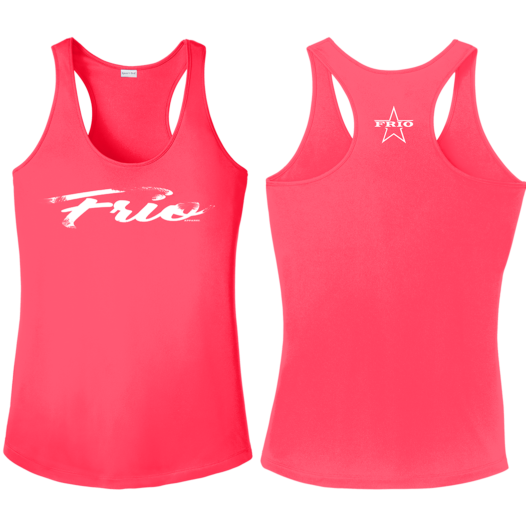 Women's Sport Tek Racerback Tank Top in Hot Coral with Frio Script