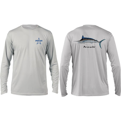 Frio Long Sleeve Put Em' On Ice Marlin Design - Pearl Grey - Frio Ice Chests
