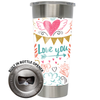 Frio 24-7 Cup w/ Bottle Opener and 3M Vinyl Wrap - Valentine's Day Doodles