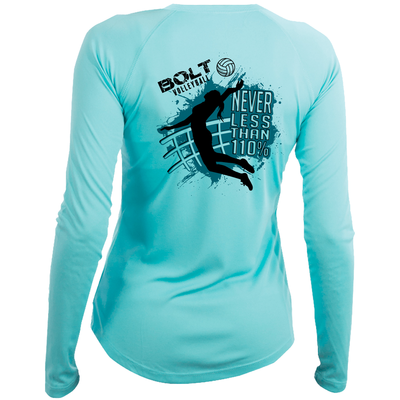 Bolt Volleyball Long Sleeve Tee- Teal