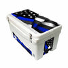 Frio 65 Qt White w/ 5 Panel 3M Vinyl Thin Blue Line USA Flag Theme - Frio Ice Chests