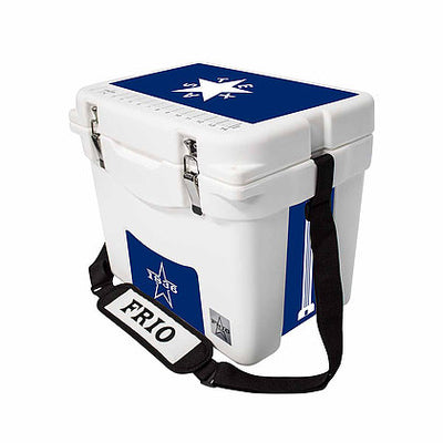 Frio 25 Qt White w/ 5 Panel 3M Vinyl Texas Blue Star Theme - Frio Ice Chests