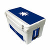 Frio 65 Qt White w/ 5 Panel 3M Vinyl Blue Texas Star Theme - Frio Ice Chests