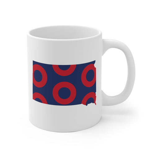 South Dakota, Red Circle Donut Coffee Mug - State Shape - PH