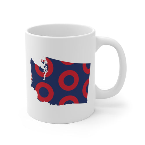 Washington, Red Circle Donut Coffee Mug - State Shape - PH