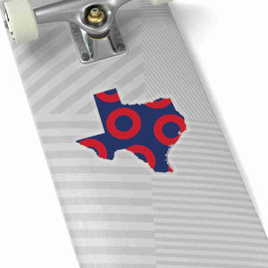 Texas, Red Circle Donut Sticker - State Shape - PH
