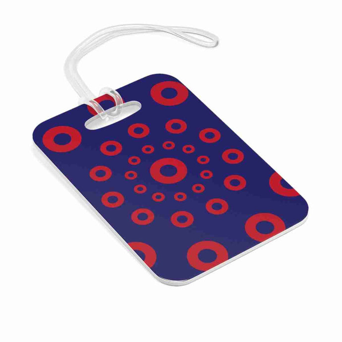 Red Circle Donuts Bag Tag, Red Circle Donut Luggage Tag, Small Sized Donuts