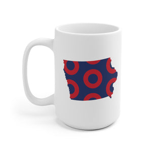 Iowa, Red Circle Donut Coffee Mug - State Shape - PH