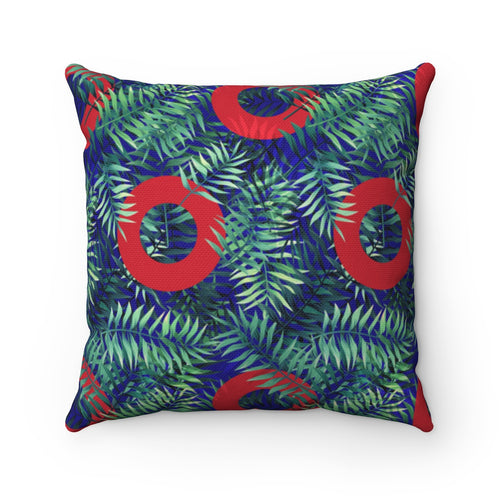 Red Circle Donut Palm Leaves Polyester Square Pillow - PH