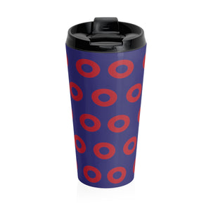 Red Circle Donut 15oz Stainless Steel Travel Mug - PH