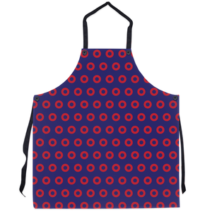 Red Circle Donut Pattern Apron, Henrietta Donut