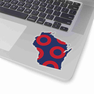 Wisconsin, Red Circle Donut Sticker - State Shape - PH