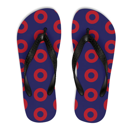PH Red Circle Donut Unisex Flip-Flops - Medium Donuts